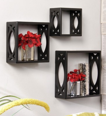 Onlineshoppee Wooden Wall Shelf(Number of Shelves - 3, Black)