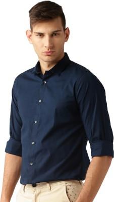 ether Men's Solid Casual Dark Blue Shirt at flipkart