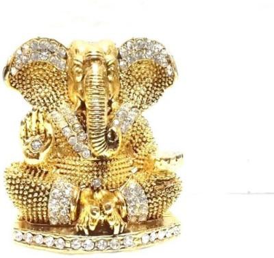 Trendy Royal Craft Car Decor Car Dashboard Ganesh Idols Decorative Showpiece 6 Cm Gold Plated Gold