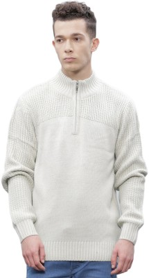 ether Self Design Round Neck Round Neck Casual Men White Sweater at flipkart