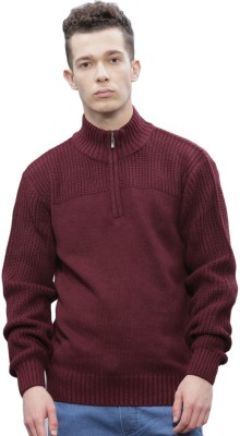 ether Self Design Round Neck Round Neck Casual Men Pink Sweater at flipkart
