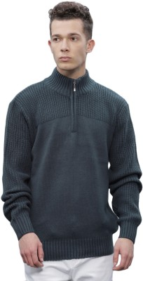 ether Self Design Round Neck Round Neck Casual Men Blue Sweater at flipkart