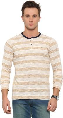 Leana Striped Men Henley Yellow, White T-Shirt