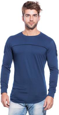 Maniac Self Design Men's Round Neck Dark Blue T-Shirt