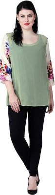 Qurvii Casual 3/4 Sleeve Printed Women Green Top Qurvii Women's Tops