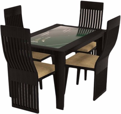 Caspian Furnitures Glass 4 Seater Dining Set(Finish Color - Black)