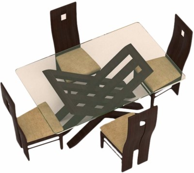 Caspian Furnitures Glass 4 Seater Dining Set(Finish Color - Brown)