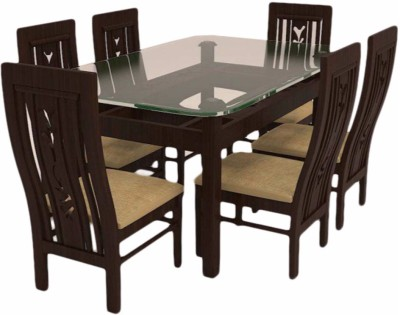 Caspian Furnitures Glass 6 Seater Dining Set(Finish Color - Brown)