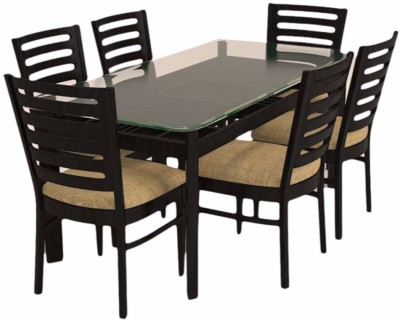 Caspian Furnitures Glass 6 Seater Dining Set(Finish Color - Black)