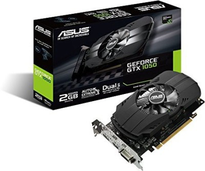 Asus NVIDIA ASUS Geforce GTX 1050 2GB Phoenix Fan Edition DVI-D HDMI DP 1.4 Gaming Graphics Card (PH-GTX1050-2G) Graphic Cards 2 GB GDDR5 Graphics Card(Black)