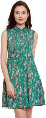 The Vanca Women Fit and Flare Green Dress