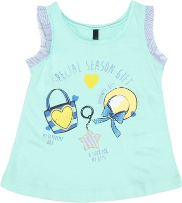 United Colors of Benetton Baby Girls Casual Cotton Blend Top(Blue) at flipkart