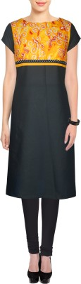 D'Ethno Casual bandhni Print Women's Kurti(Black)  available at flipkart for Rs.460