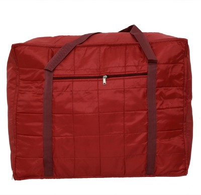 Kuber Industries Jumbo Attachi Bag in Soft Parachute Material, Blanket Cum Suitcase Bag, Storage Bag Small Travel Bag Red