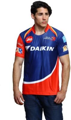 Delhi Daredevils Color block, Typography Men Round Neck Blue, Red T-Shirt Flipkart