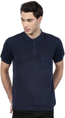 ether Solid Men's Polo Neck Dark Blue T-Shirt at flipkart