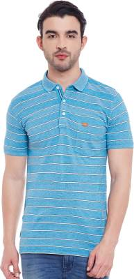 Duke Striped Men's Polo Neck Blue, Green T-Shirt