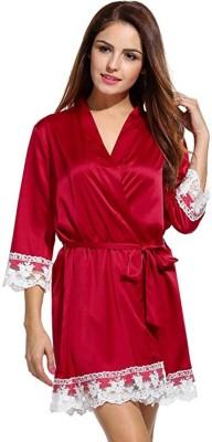 VAMIRA Maroon Free Size Bath Robe(1 Bridal Bath Robe, For: Women, Maroon) at flipkart
