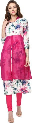 IVES Women's Embroidered Straight Kurta(Pink)