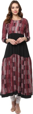 IVES Women's Textured A-line Kurta(Black)