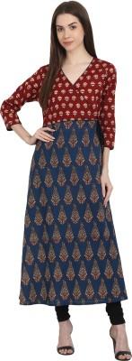 Nayo Women Printed Straight Kurta(Red, Blue) at flipkart