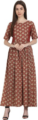 Nayo Women Printed Anarkali Kurta(Red, White) at flipkart