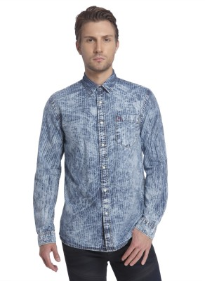 Jack & Jones Men Striped Casual Blue Shirt at flipkart