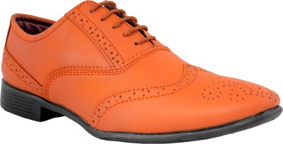 World Walker Formal Full Brogue Shoes Lace Up For Men(Tan)