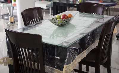 Kart Bazaar Printed 4 Seater Table Cover(Gold Border, PVC, Plastic) at flipkart