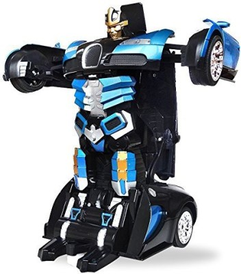The Flyer's Bay One Button Transforming Car into Robot with Cool Dance Features - Bugatti Blue(Multicolor) at flipkart