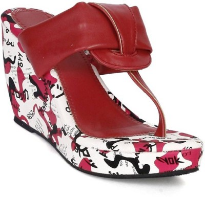 Digni Women Red, White Wedges Digni Wedges