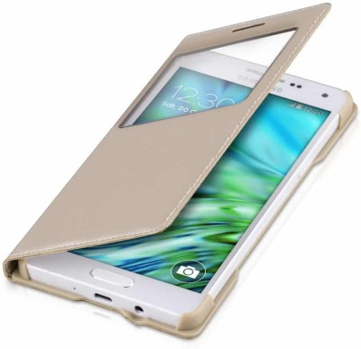 G MOS Flip Cover for Samsung Galaxy On7 Gold