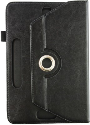Emartbuy Wallet Case Cover for Binatone AppStar GX(Black Plain, Artificial Leather)