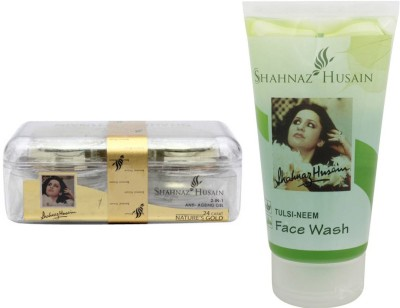 Shahnaz Husain Gold 2-in-1 Anti-ageing Gel and Tulsi-Neem Face Wash Combo Combo Set(Set of 2)
