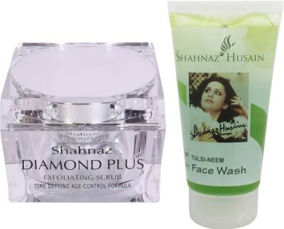 Shahnaz Husain Diamond Scrub and Tulsi-Neem Face Wash Combo Combo Set(Set of 2)