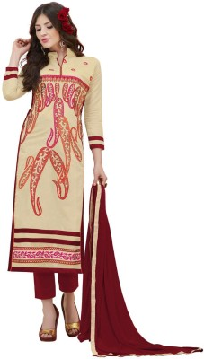 Saara Chanderi Embroidered Salwar Suit Dupatta Material(Un-stitched)