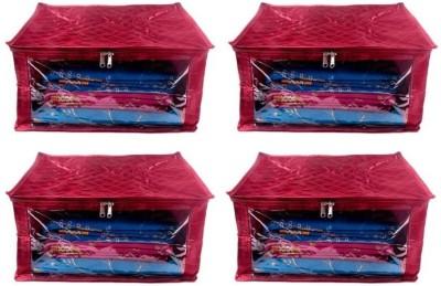Addyz Plain Pack of 4 Pisces Plain Large Satin Saree Salwar Suit Kamiz Cover Storage Bag(Maroon)