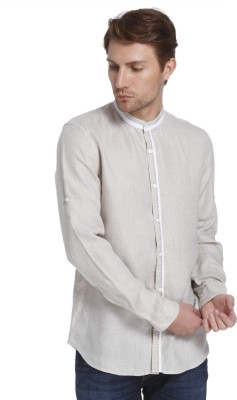 Jack & Jones Men Solid Casual Beige Shirt at flipkart