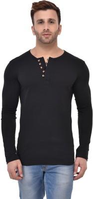 Wild Thunder Solid Men Henley Black T-Shirt
