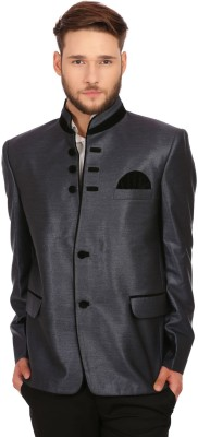 WINTAGE Solid Single Breasted Party Men's Blazer(Grey)  available at flipkart for Rs.2399