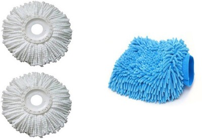 bajrang Combo of Mop Refill(02 pcs.) and Wet and Dry Microfiber Glove (01 pc.) Home Cleaning Set  available at flipkart for Rs.220