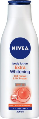 NIVEA Body Lotion, Extra Whitening Cell Repair, SPF 15 & 50x Vitamin C(200 ml)