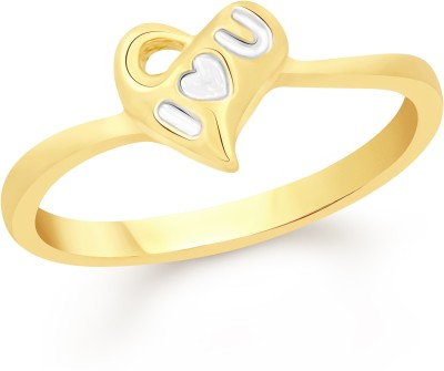 VK Jewels I Love You Heart Alloy Cubic Zirconia 18K Yellow Gold Plated Ring