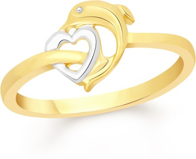 VK Jewels Dolphine With Heart Alloy Cubic Zirconia 18K Yellow Gold Plated Ring