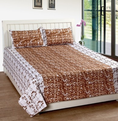Home Fantasy Cotton Double Floral Bedsheet(1 Bedsheet, 2Piloow Cover, Brown)