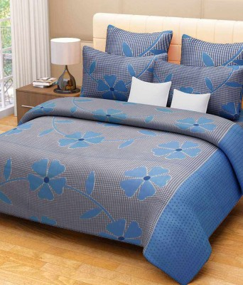 Moms Collection Cotton Floral Double Bedsheet(1 Bedsheet With 2 Pillow Covers, Blue) at flipkart