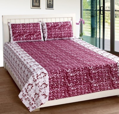 Home Fantasy Cotton Floral Double Bedsheet(1 Bedsheet, 2Piloow Cover, Multicolor)