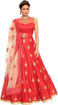 Active Art Silk Printed Semi-stitched Salwar Suit Dupatta Material