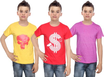 Indistar Boys Printed Cotton T Shirt(Multicolor, Pack of 3)