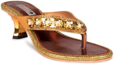 Pipilika Women Gold, Maroon Heels at flipkart